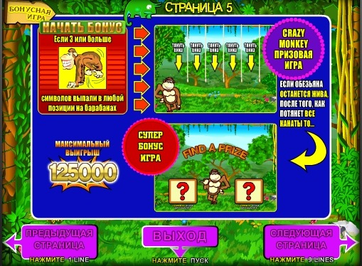 Bonus game of pokies Crazy Monkey