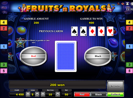 Doubling game of pokies Fruits'n Royals Deluxe