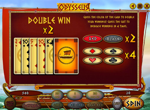 Doubling game of pokies Odysseus