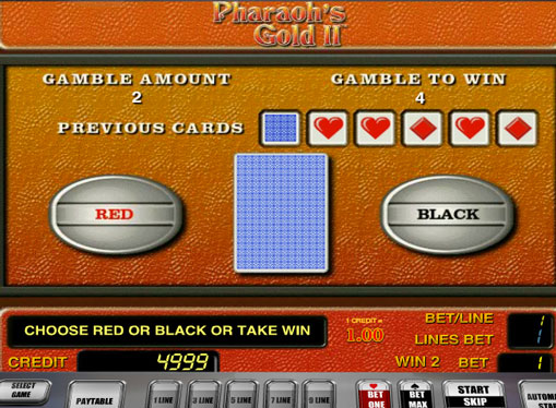 Doubling game of pokies Pharaohs Gold II
