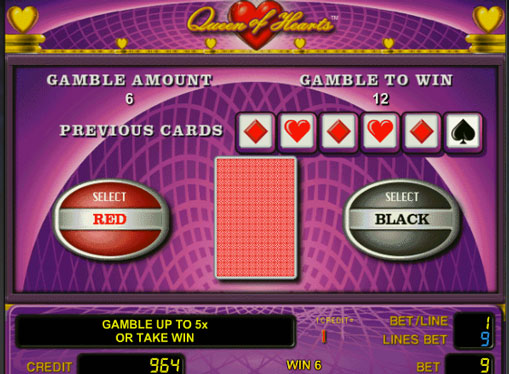Doubling game of pokies Queen of Hearts
