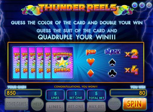 Doubling game of pokies Thunder Reels