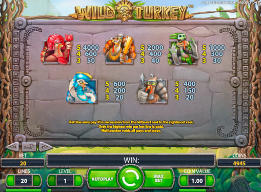 High rates and a lot of freespins pokie machine Wild Turkey