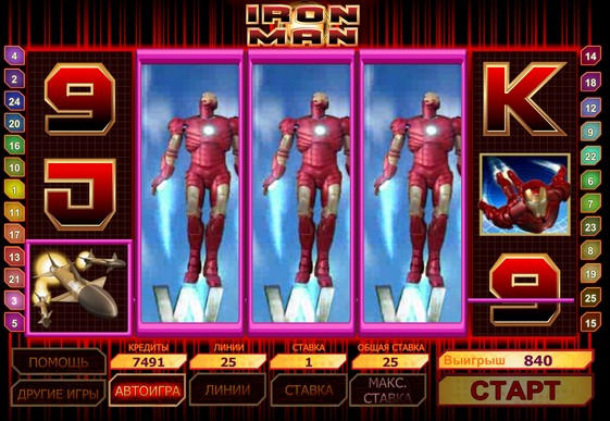 The reels of pokies Iron man