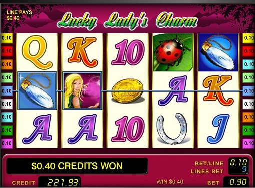 The reels of pokies lucky lady's charm