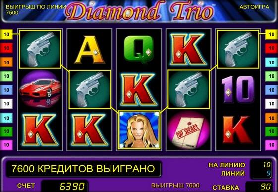 The reels of pokies Diamond Trio