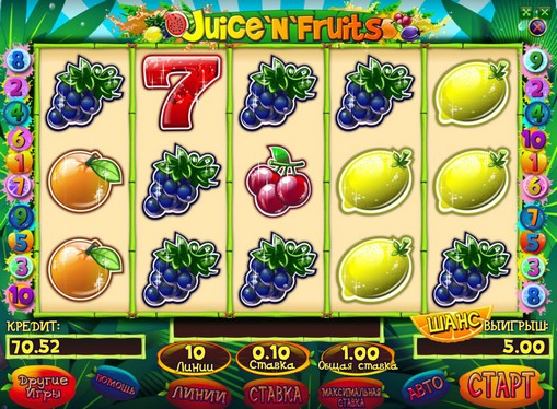 The appearance of pokies Juice and Fruits