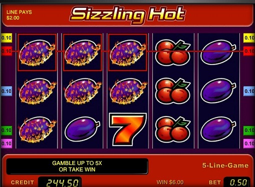 The reels of pokies Sizzling Hot