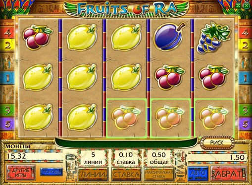 Winning line of pokies Fruits of Ra